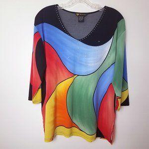 Valentina Women's Sequined Shirt Top Blouse